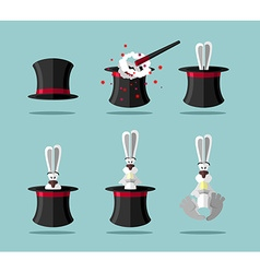 Set magician wand Topper and rabbit icon vector image