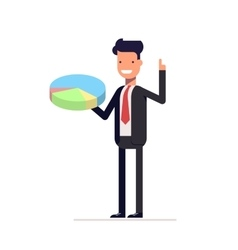 Businessman or manager with pie chart in hand Man vector image vector image