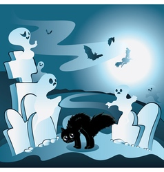 Cartoon cemetery with ghosts vector
