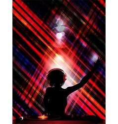 DJ silhouette over striped background vector image vector image