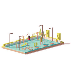 low poly street fitness gym vector image vector image