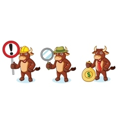 Ox brown mascot with money vector