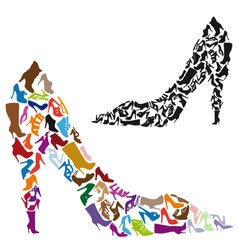 Shoe silhouettes vector image