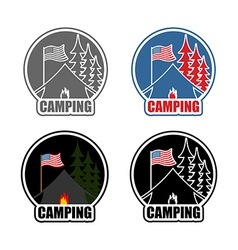 American Camping logo set day and night Emblem for vector image