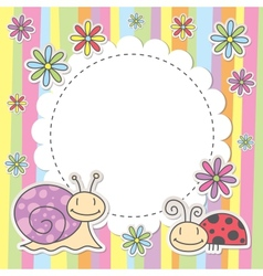 card with snail and ladybug vector image