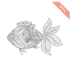 cartoon fish with floral ornament vector image vector image