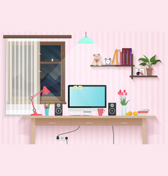 female teenager room with workplace sweet girl vector image
