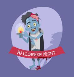 halloween night crazy zombie vector image