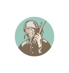 World War Two Soldier American Talk Radio Circle vector image