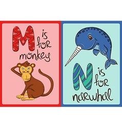 Children Alphabet with Funny Animals Monkey and vector image