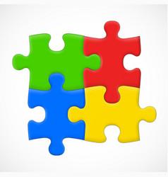 four piece puzzle solution concept vector image