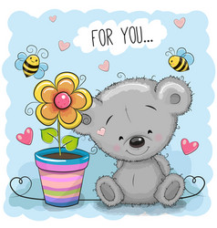 greeting card bear with flower vector image vector image