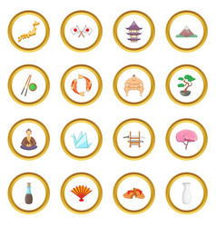 japan icons circle vector image