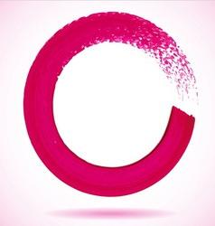 Magenta paintbrush circle frame vector image