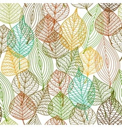 Seamless pattern of autumnal leaves vector image