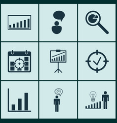 set of 9 management icons includes company vector image vector image