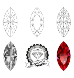 Set of marquise cut jewel views vector image vector image