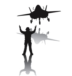 Stealth aircraft silhouette vector image vector image