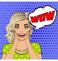 WOW bubble pop art surprised woman face vector image
