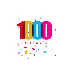 1000 followers template design vector