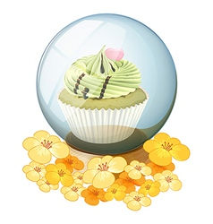 A crystal ball with a cupcake vector