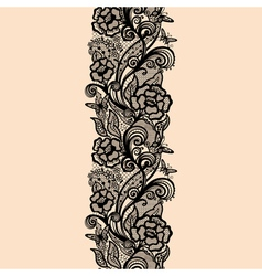 Abstract seamless lace pattern with flowers and vector image