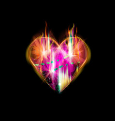 abstraction heart for dark backgrounds smoldering vector image
