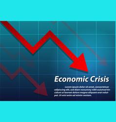 arrow down economic crisis background vector image