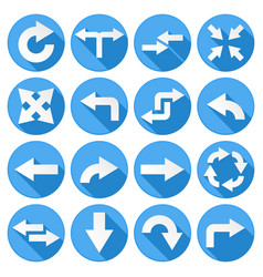 arrows set collection round blue icons vector image