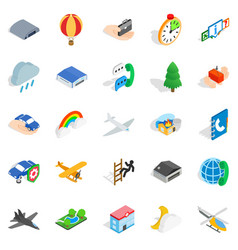 aviation icons set isometric style vector image