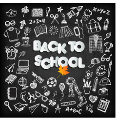 back to school background set on black board vector image