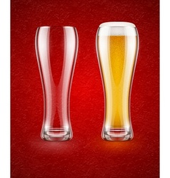 Beer with froth in glass vector