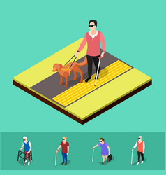 Blind people paving background vector