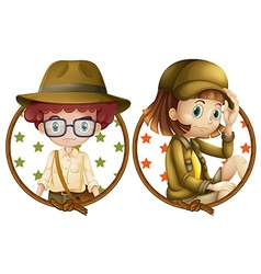 Boy and girl on round badges vector image