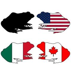 Bullfrog flags vector image