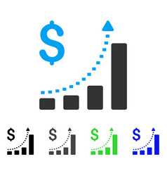 Business bar chart positive trend flat icon vector