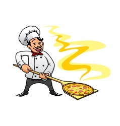 Cartoon baker chef cooking pizza vector image