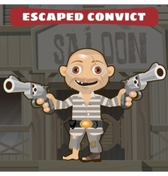 Cartoon character of Wild West - escaped convict vector