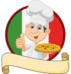 Cartoon chef holding a pizza and giving a thumbs vector image