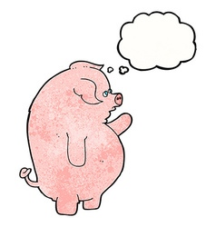 cartoon fat pig with thought bubble vector image