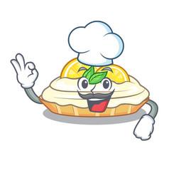 Chef cartoon lemon cake with lemon slice vector