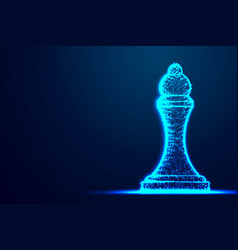 Chess queen wireframe polygon blue frame vector