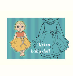 Child girl dressed up in a dress with a bow vector
