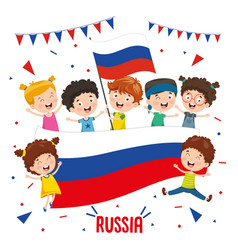 children holding russia flag vector image