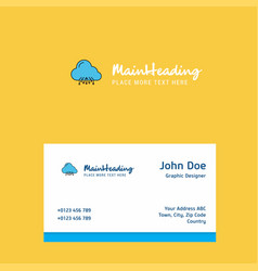 cloud circuit logo design with business card vector image