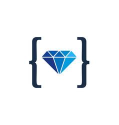 code diamond logo icon design vector image