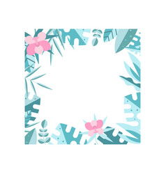 colored square frame made of blue leaves and pink vector image