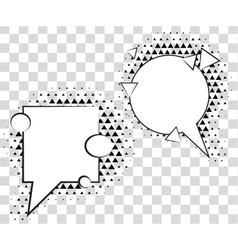 Comic speech bubbles with halftone triangles vector