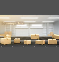 Conveyor line with carton boxes moving side view vector