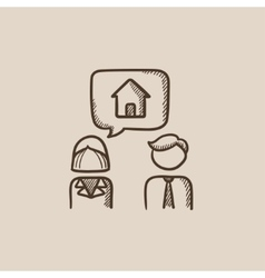 Couple dreaming about house sketch icon vector